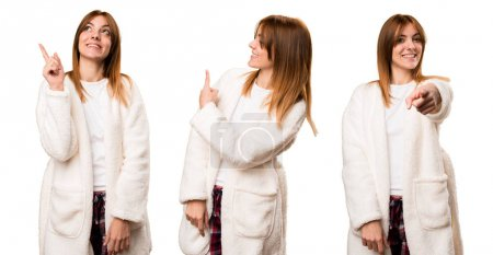 Set of Young woman in dressing gown pointing back, front and up