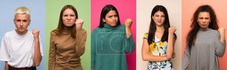 Set of women with angry gesture...