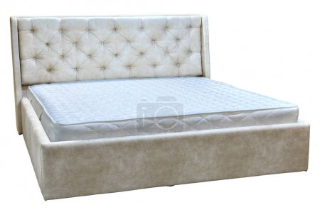 Frame double bed with artificial leather and spring mattress.