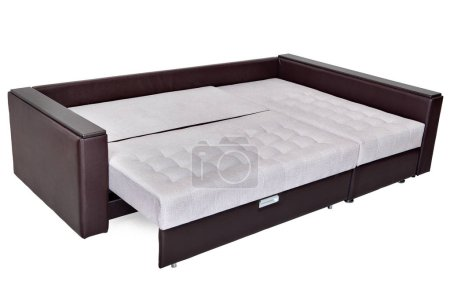 Folding sofa bed of white color, full-size, armres...