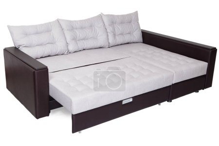 Corner convertible sofa bed of white color, queen-...