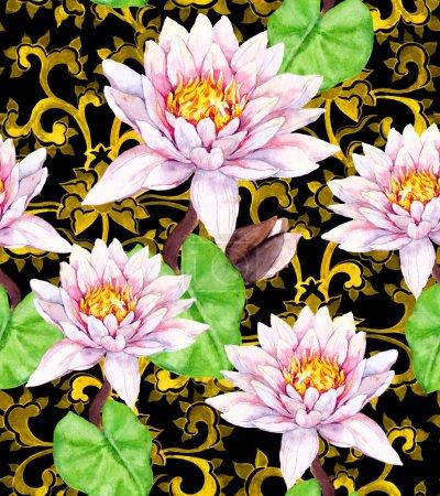 Photo pour Fleurs de lys - nénuphar et ornement asiatique doré. Motif floral sans couture. Aquarelle - image libre de droit