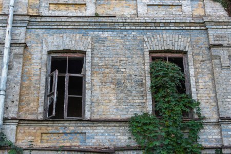 Photo pour Facade of abandoned building with wild grape on wall and window - image libre de droit