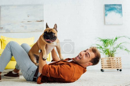 Photo for Laughing man playing with french bulldog on carpet at home - Royalty Free Image