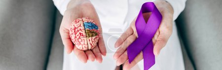 Photo for Panoramic shot of doctor holding model of brain and purple ribbon - Royalty Free Image