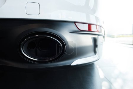 Photo for KYIV, UKRAINE - OCTOBER 7, 2019: close up of exhaust pipe in modern porshe - Royalty Free Image