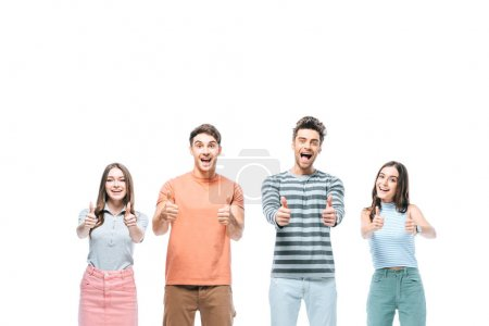 Photo for Excited friends screaming and showing thumbs up isolated on white - Royalty Free Image