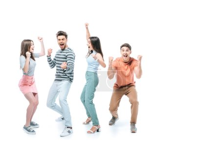 excited friends screaming and celebrating isolated on white