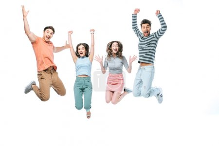 Photo for Excited beautiful friends jumping with triumph, isolated on white - Royalty Free Image