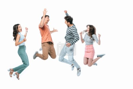 Photo for Excited friends jumping together, isolated on white - Royalty Free Image