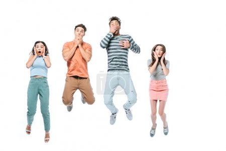 Photo for Excited friends jumping and celebrating together, isolated on white - Royalty Free Image