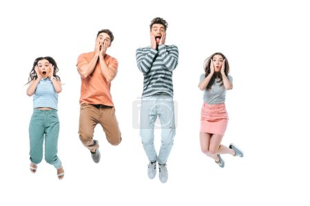 Photo for Excited friends screaming and jumping, isolated on white - Royalty Free Image