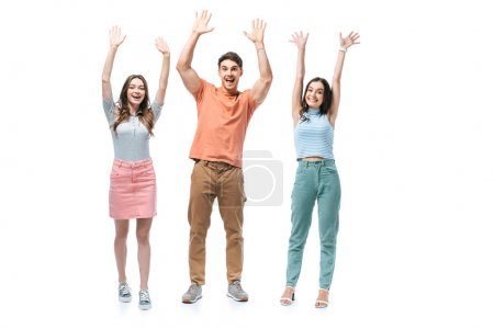 Photo for Positive friends standing together with hands up, isolated on white - Royalty Free Image