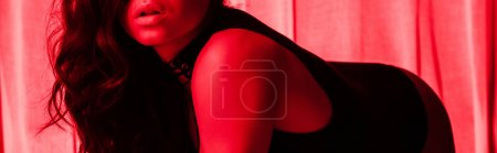 Photo for Cropped view of beautiful sexy girl posing in red light, panoramic shot - Royalty Free Image