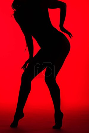 Photo for Black silhouette of sensual girl on red - Royalty Free Image