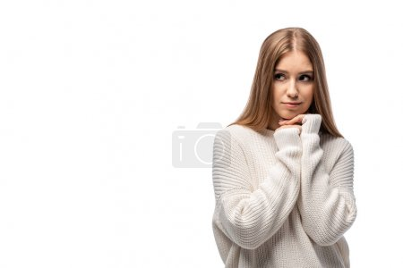 Photo pour Attractive pensive woman posing in white sweater, isolated on white - image libre de droit