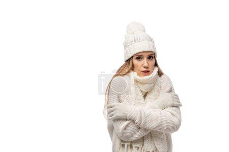 Photo pour Belle femme inquiète échauffement en tricot blanc vêtements, isolé sur blanc - image libre de droit