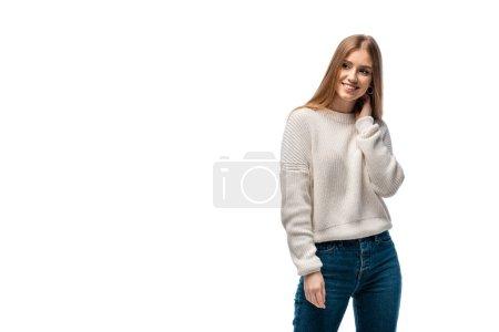 Photo pour Attrayant heureux en jeans et pull blanc, isolé sur blanc - image libre de droit