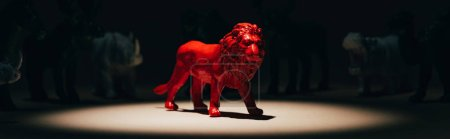 Photo pour Panoramic shot of red toy lion under spotlight with animals at background, voting concept - image libre de droit