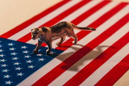 Photo pour Tigre doré avec l'ombre sur le drapeau américain, concept de bien-être des animaux - image libre de droit
