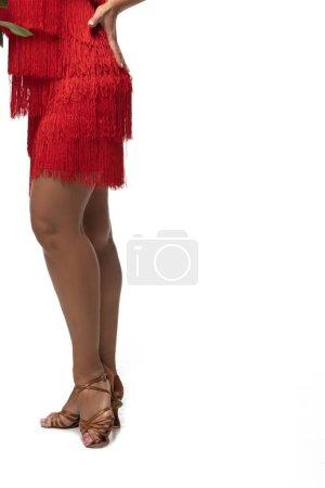 Photo pour Vue recadrée du danseur de tango en sandales et robe rouge avec frange sur fond blanc - image libre de droit