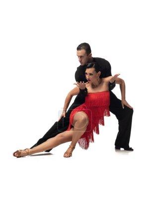 Photo pour Couple de danseurs passionnés et élégants exécutant le tango sur fond blanc - image libre de droit