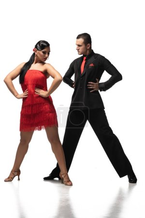 Photo for Stylish couple of dancers holding hands on hips while performing tango on white background - Royalty Free Image