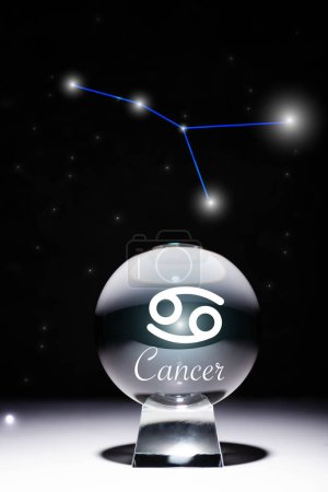 Photo pour Crystal ball with Cancer zodiac sign isolated on black with constellation - image libre de droit