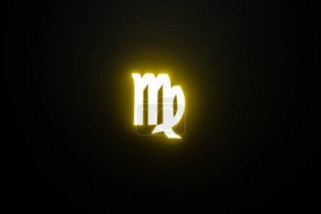 Photo pour Signe lumineux jaune du zodiaque Vierge sur fond noir - image libre de droit