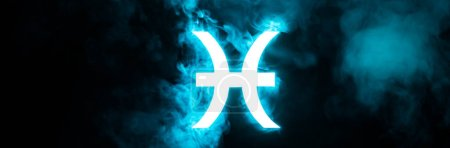Photo pour Blue illuminated Pisces zodiac sign with smoke on background, panoramic shot - image libre de droit