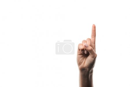 cropped view of woman showing idea sign isolated on white