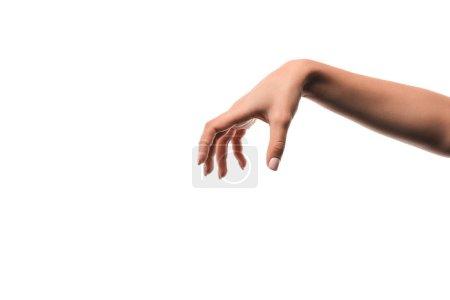 Photo pour Vue recadrée de la femme avec la main effrayante isolé sur blanc - image libre de droit
