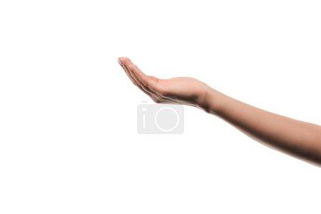 Photo pour Vue recadrée de la femme avec la main coupée isolé sur blanc - image libre de droit