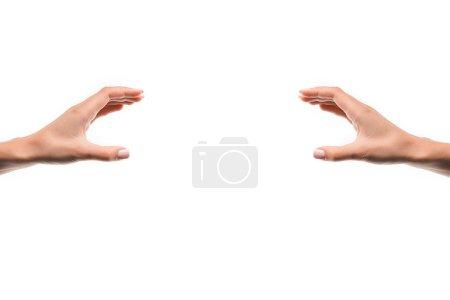 Photo pour Vue recadrée de la femme gesticulant avec les mains isolées sur blanc - image libre de droit
