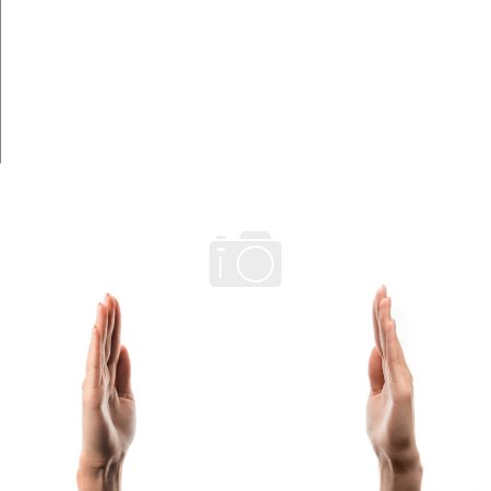 cropped view of woman with raised hands isolated on white