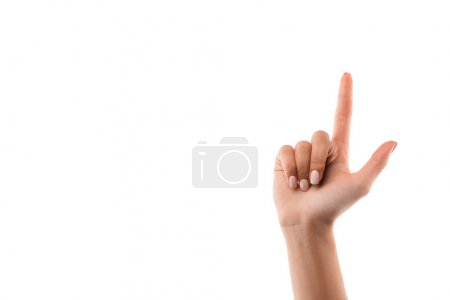 Photo for Cropped view of girl pointing with finger isolated on white - Royalty Free Image
