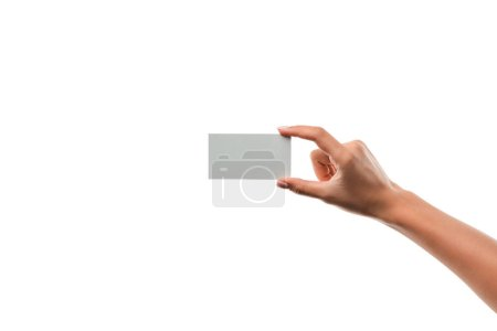 Photo pour Cropped view of girl holding empty card isolated on white - image libre de droit