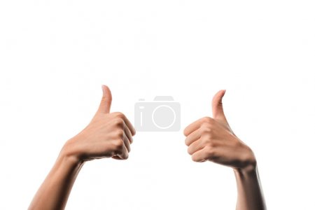 cropped view of woman showing thumbs up isolated on white