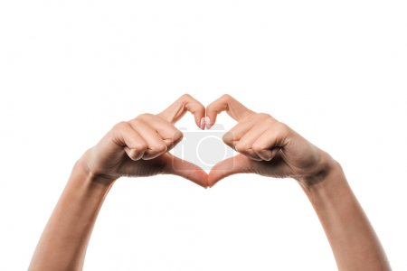 Photo for Cropped view of woman showing heart-shape sign with fingers isolated on white - Royalty Free Image