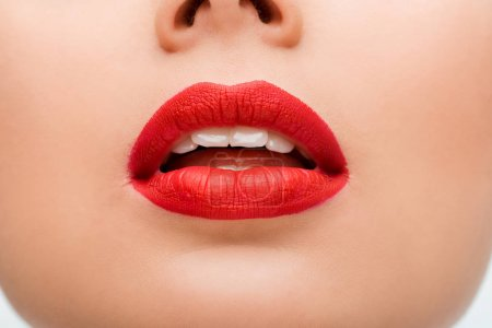Photo for Cropped view of young woman with red lipstick - Royalty Free Image