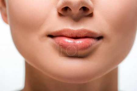 Photo for Cropped view of woman with lip gloss on lips - Royalty Free Image