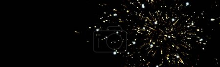 Photo for Panoramic shot of golden fireworks in night sky, isolated on black - Royalty Free Image