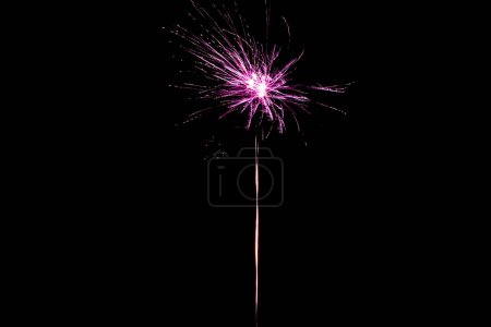 Photo for Pink festive firework on party, isolated on black - Royalty Free Image