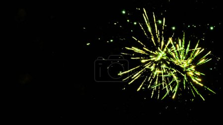 Photo for Green festive fireworks on party, isolated on black - Royalty Free Image