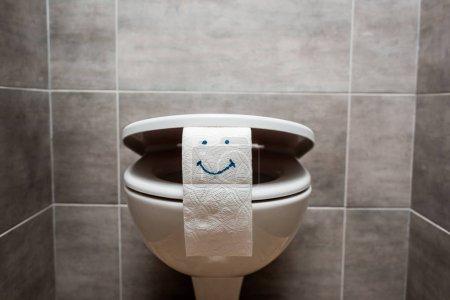 Photo pour Cuvette de toilette propre en céramique et papier hygiénique avec visage souriant dans les toilettes modernes - image libre de droit