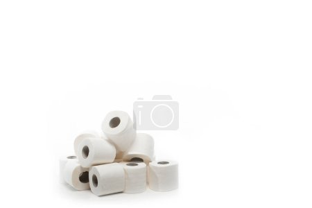 rolls of toilet paper in stack isolated on white