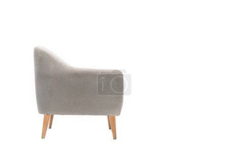 Photo pour Comfortable grey modern armchair isolated on white - image libre de droit