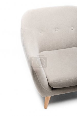 Photo for Close up view of comfortable grey modern armchair on white background - Royalty Free Image