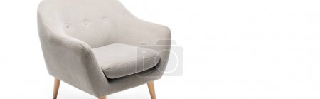Photo pour Comfortable grey modern armchair isolated on white, panoramic shot - image libre de droit