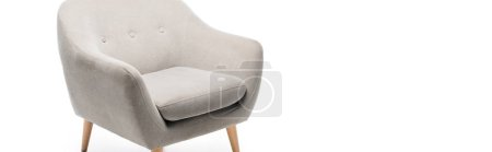 comfortable grey modern armchair isolated on white, panoramic shot